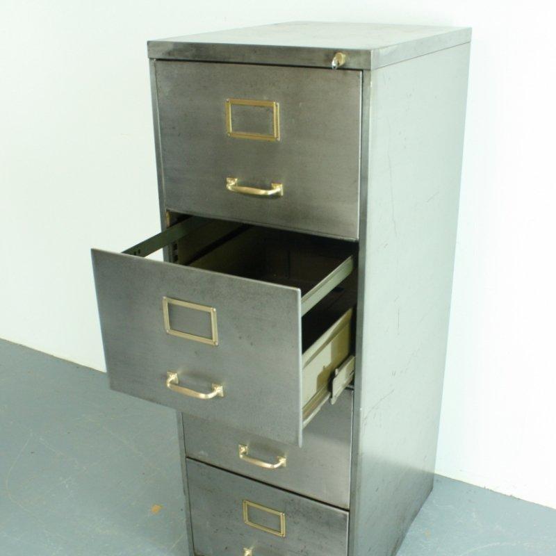 Vintage Polished Steel 4 Drawer Filing Cabinet 5. $1,125.00. Price Per Piece