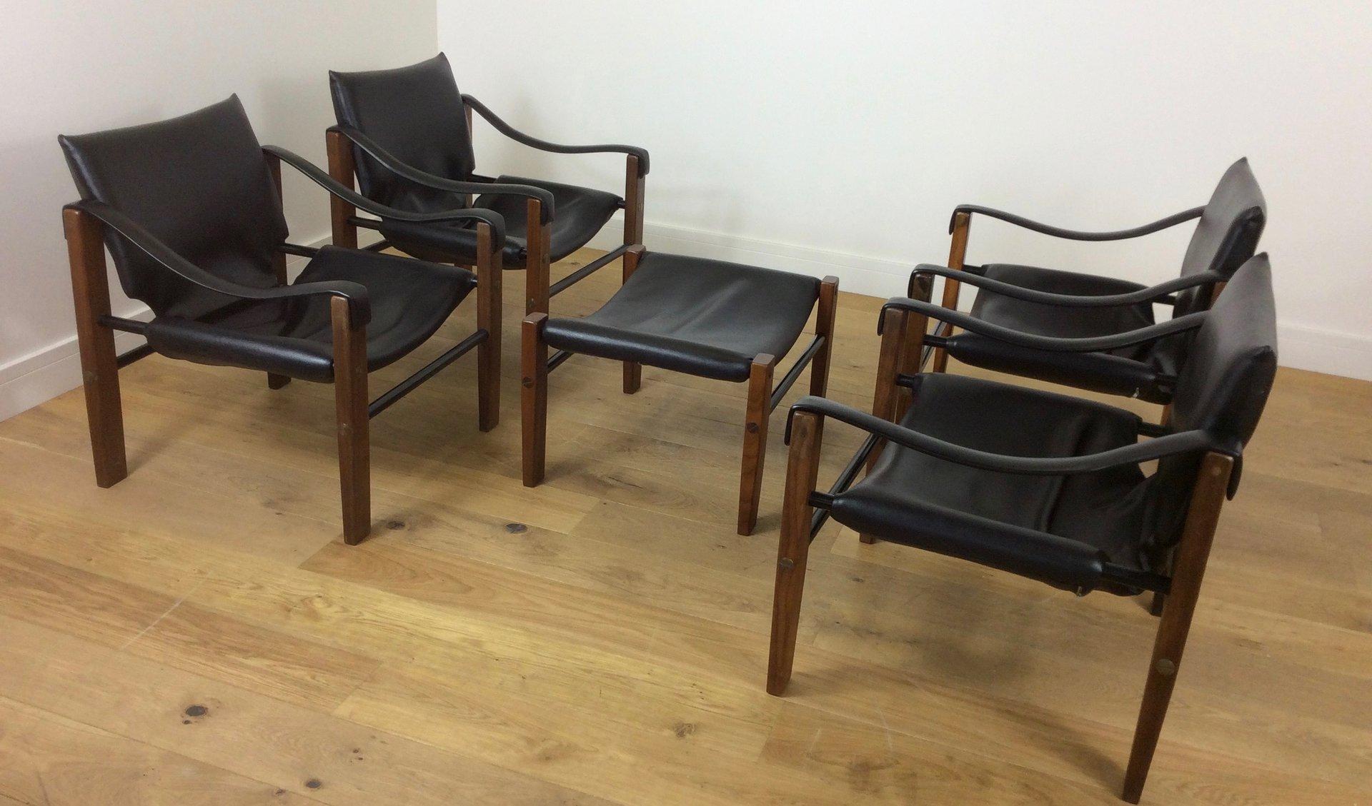 safari sessel und hocker von arkana 1960er bei pamono kaufen. Black Bedroom Furniture Sets. Home Design Ideas