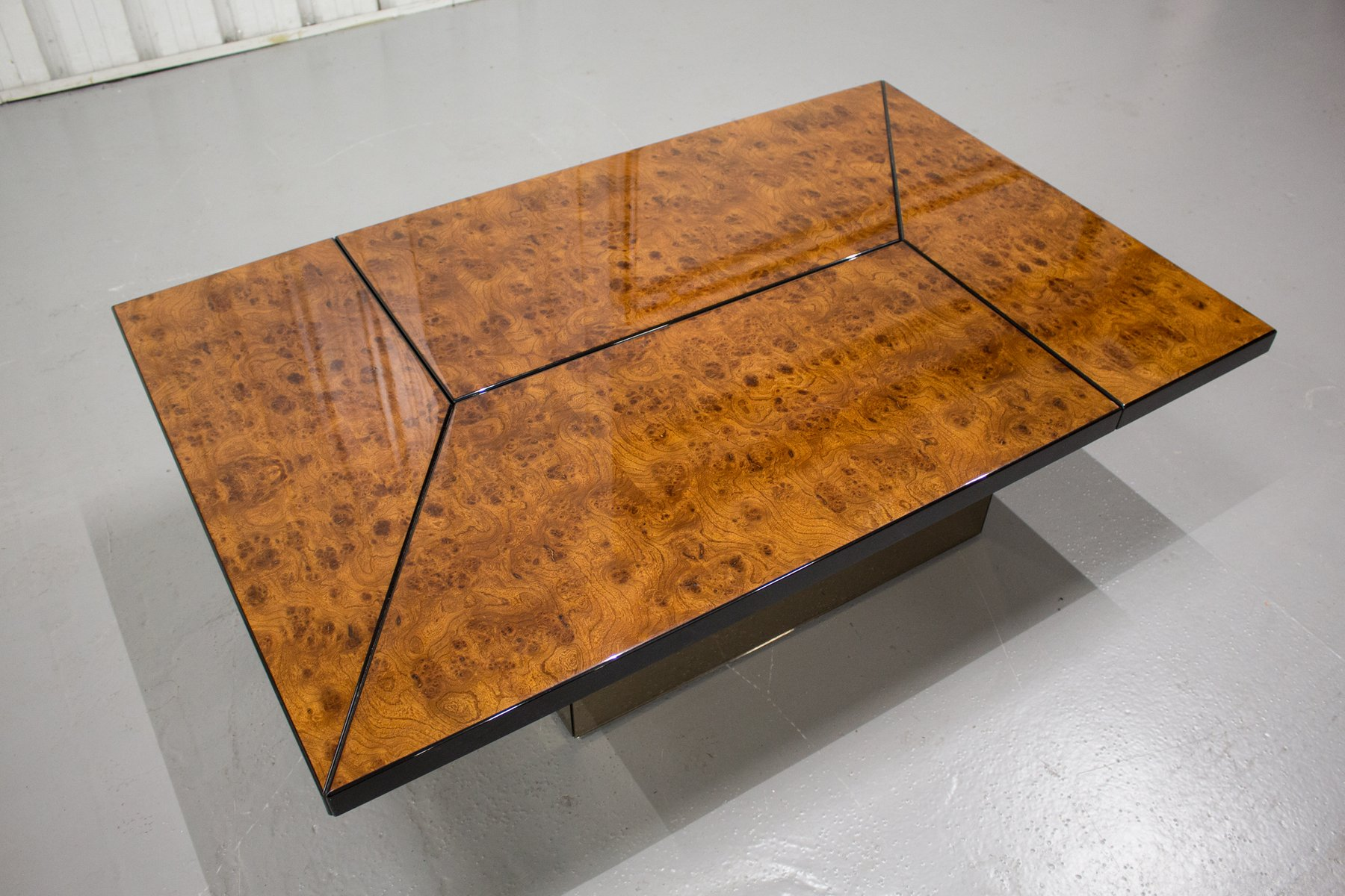 Vintage Burl Coffee Table with Hidden Bar by Paul Michel for sale