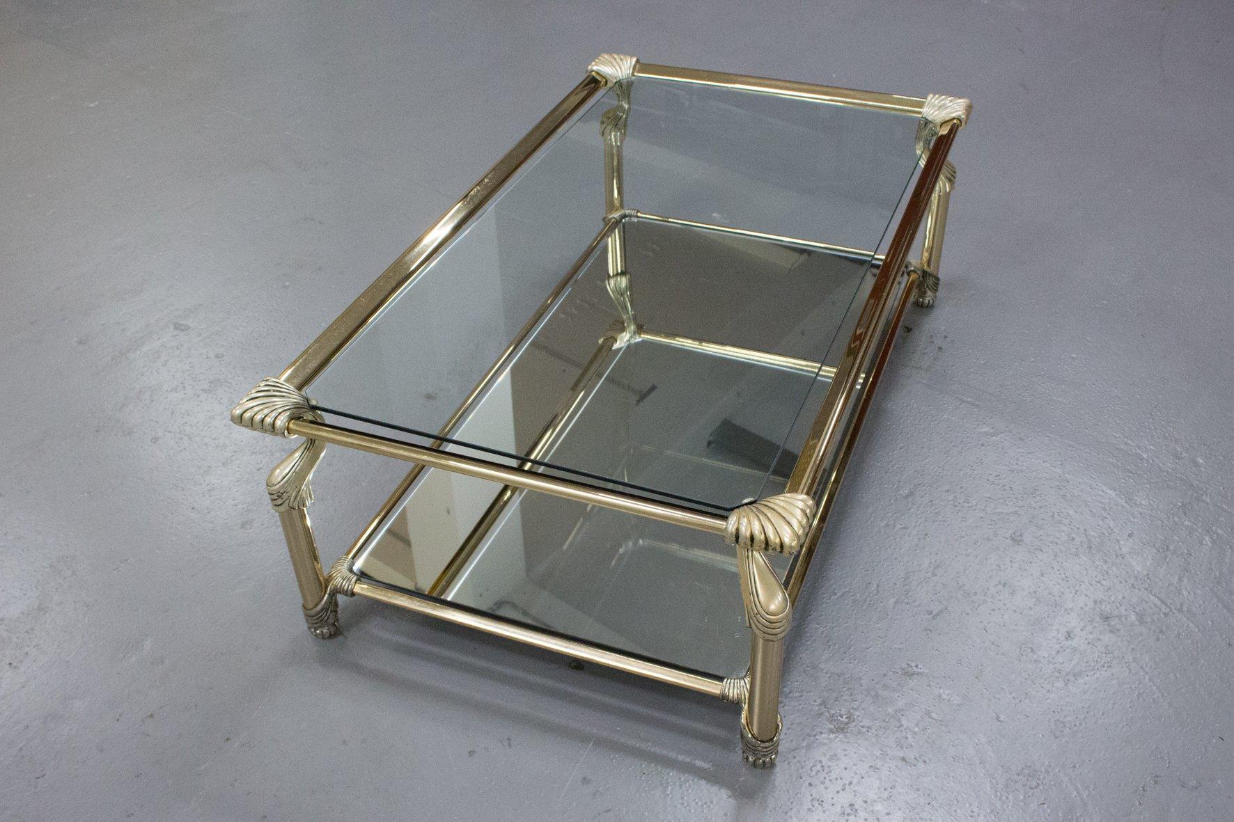 Tavolino Da Caff Vintage Con Struttura In Ottone Vetro E  # Muebles Curvasa