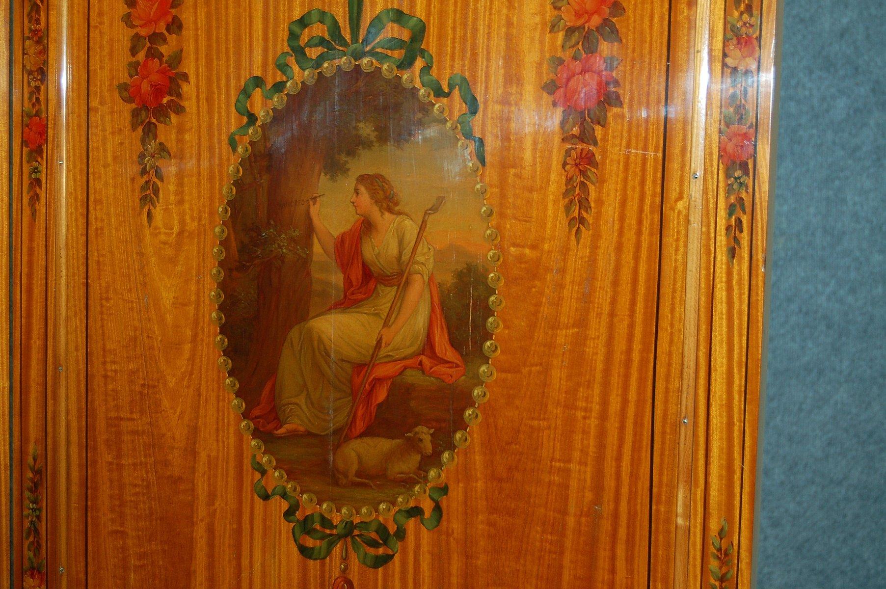wandschirm mit angeschr gten spiegeln 1900er bei pamono kaufen. Black Bedroom Furniture Sets. Home Design Ideas