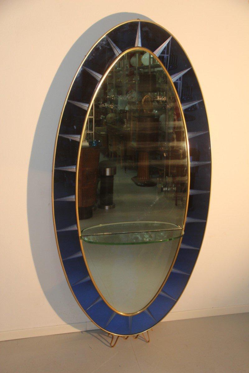 kobaltblauer italienischer spiegel mit ablage von cristal art 1960er bei pamono kaufen. Black Bedroom Furniture Sets. Home Design Ideas