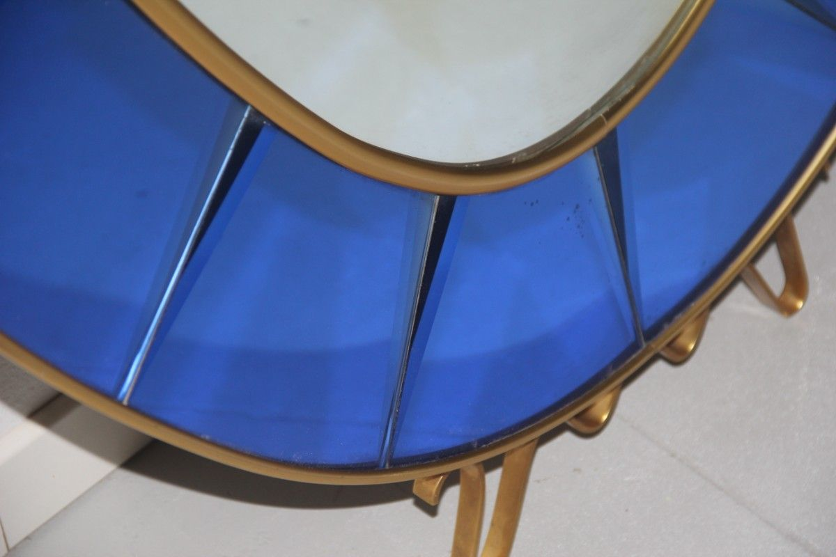 Cobalt Blue Italian Mirror With Console From Cristal Art Antique Mirrored Coffee Table