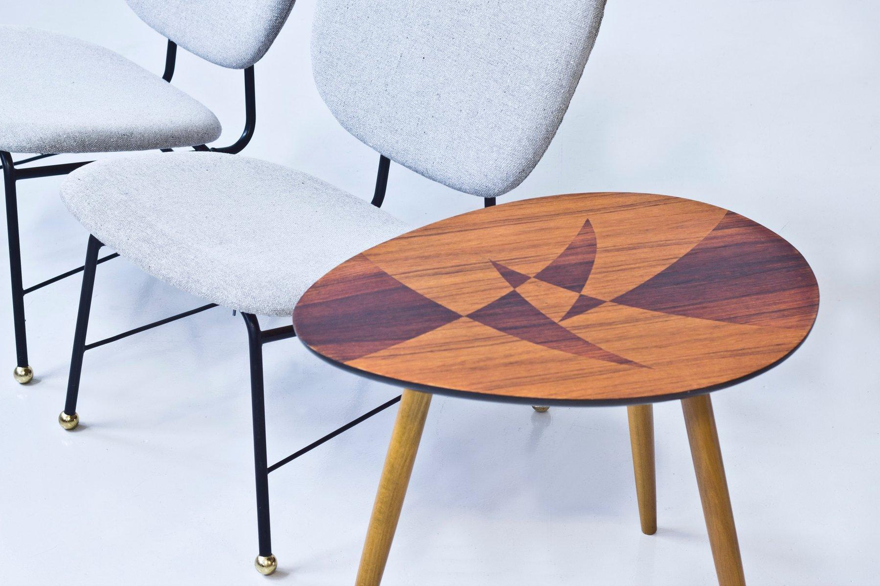 Schwedischer Tisch mit Geometrische Marketerie, 1950er bei Pamono kaufen