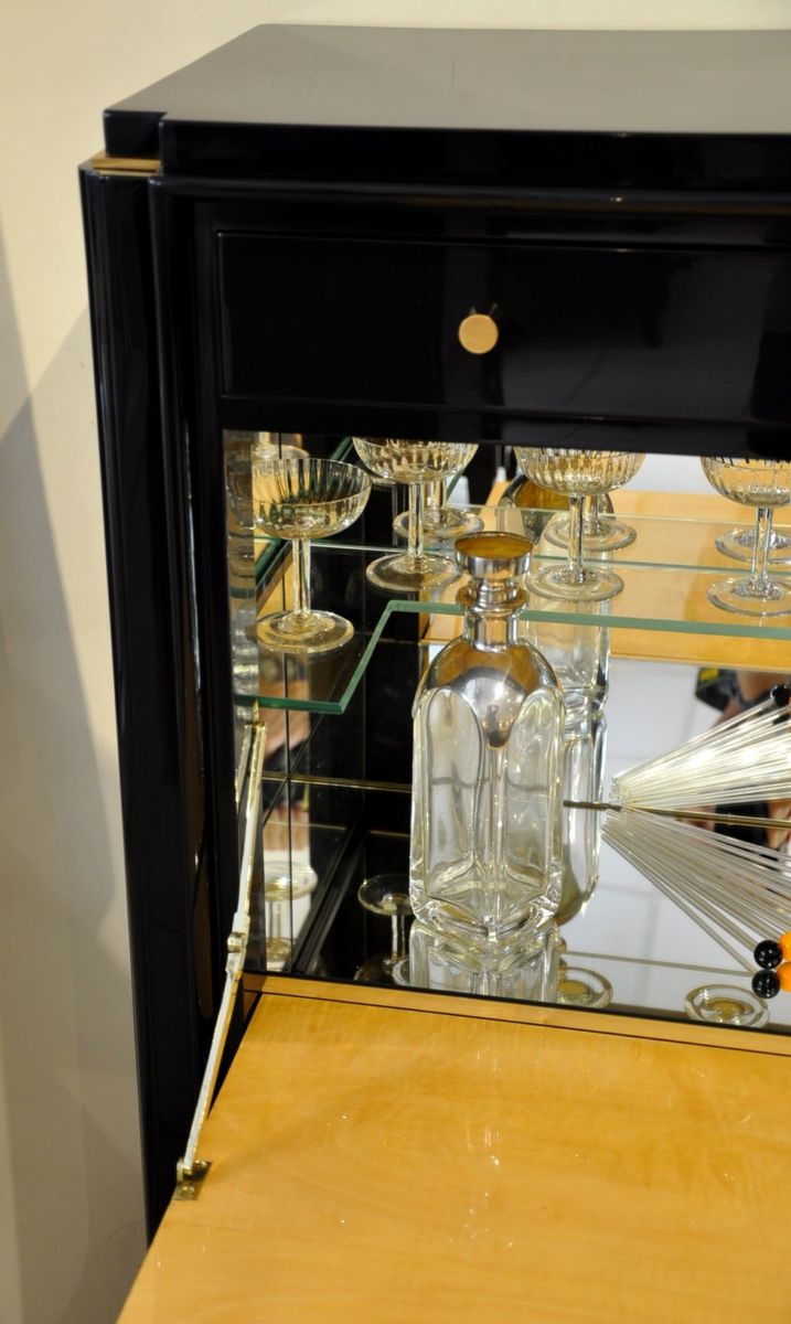 lacquered art deco bar from maison rinck 1930s for sale. Black Bedroom Furniture Sets. Home Design Ideas