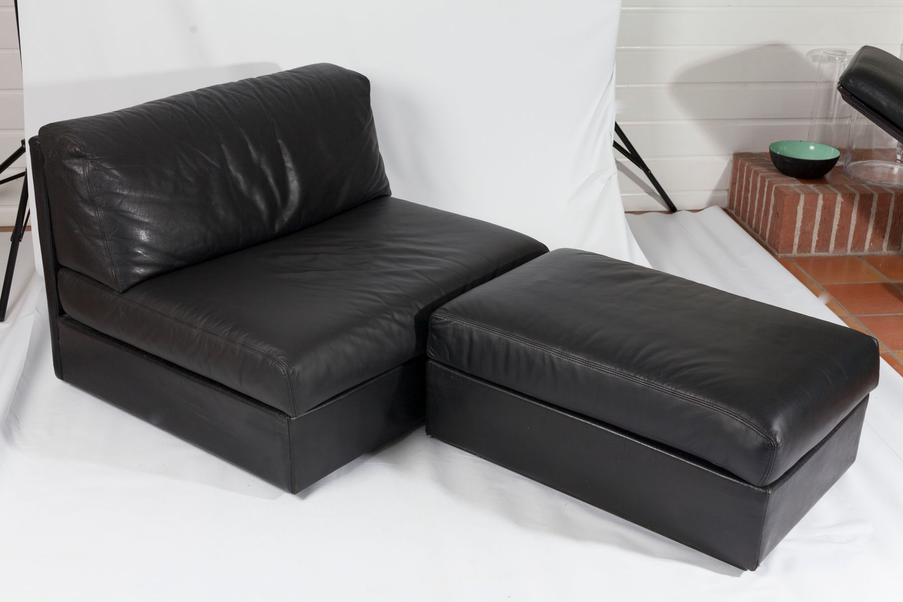 w contemporary bonded sectional style leather sofa cocktail black darie ottoman p