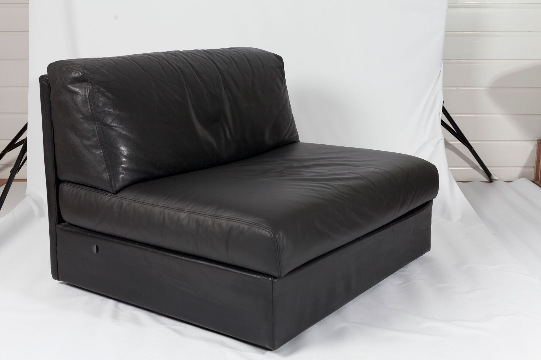 Black leather sectional sofa 1980s for sale at pamono for Black leather sectional sofa uk