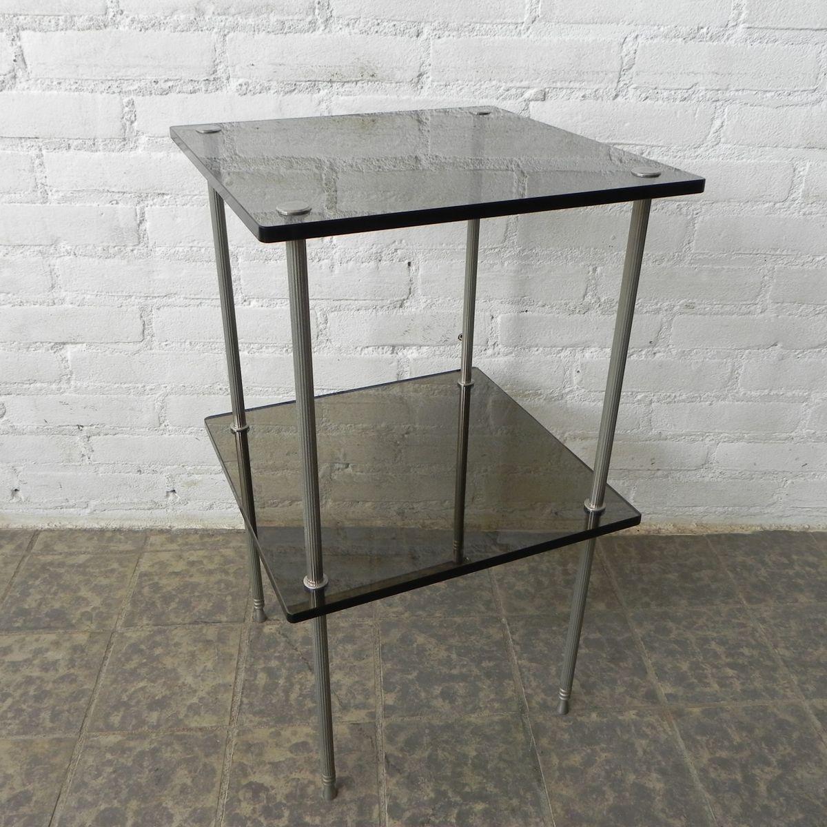 vintage beistelltisch mit 2 glasplatten bei pamono kaufen. Black Bedroom Furniture Sets. Home Design Ideas