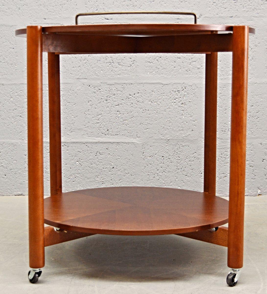 runder mid century servierwagen aus teak vogelaugenahorn bei pamono kaufen. Black Bedroom Furniture Sets. Home Design Ideas