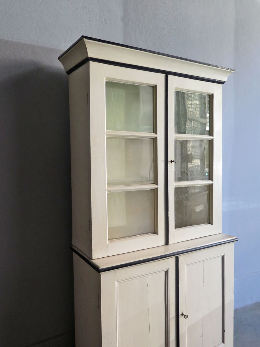 Vintage wooden cupboard with showcase for sale at pamono