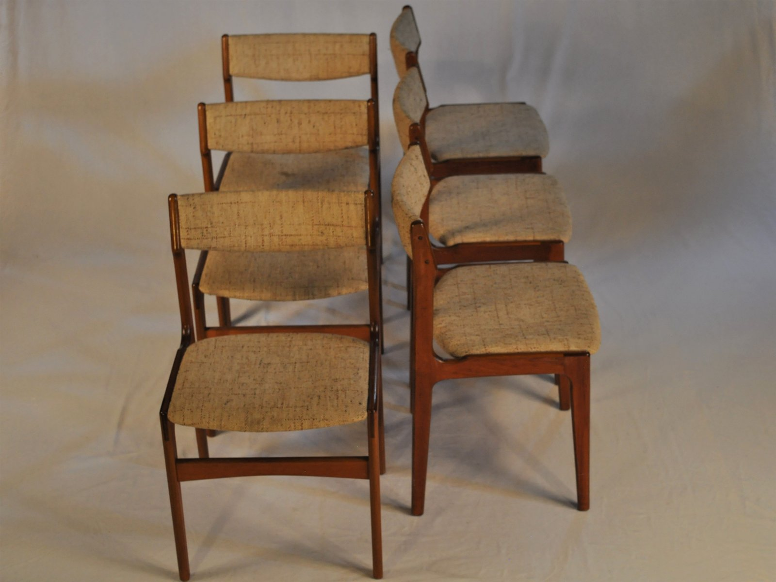 Teak & Fabric Dining Chairs by Erik Buch 1960s Set of 6 for sale