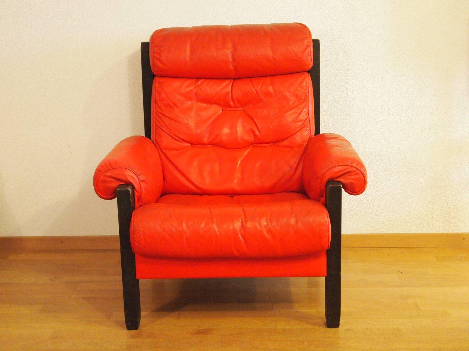Roter vintage ledersessel von de sede bei pamono kaufen for Roter ledersessel