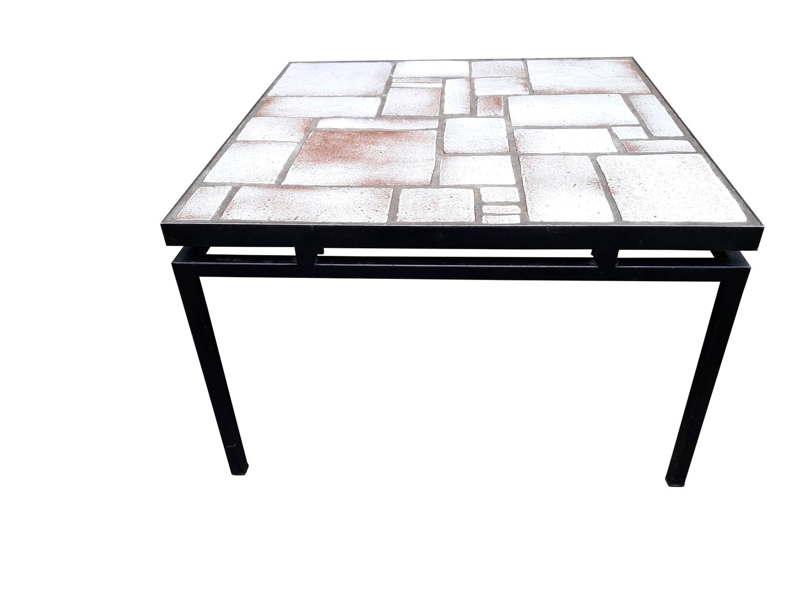 Mid Century White And Beige Ceramic Coffee Table On Painted Metal Base,  1960s