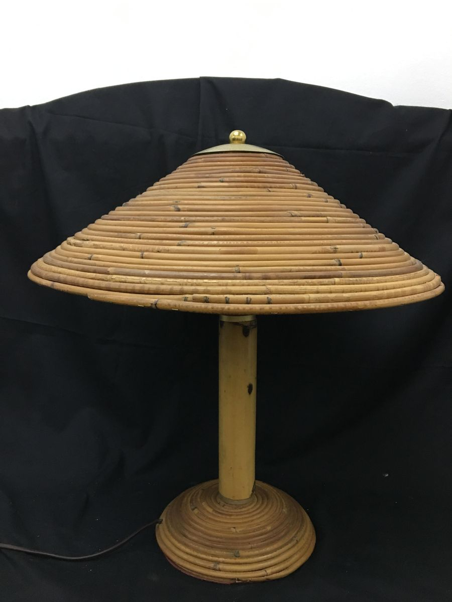 Italian Brass And Bamboo Table Lamp 1970 For Sale At Pamono