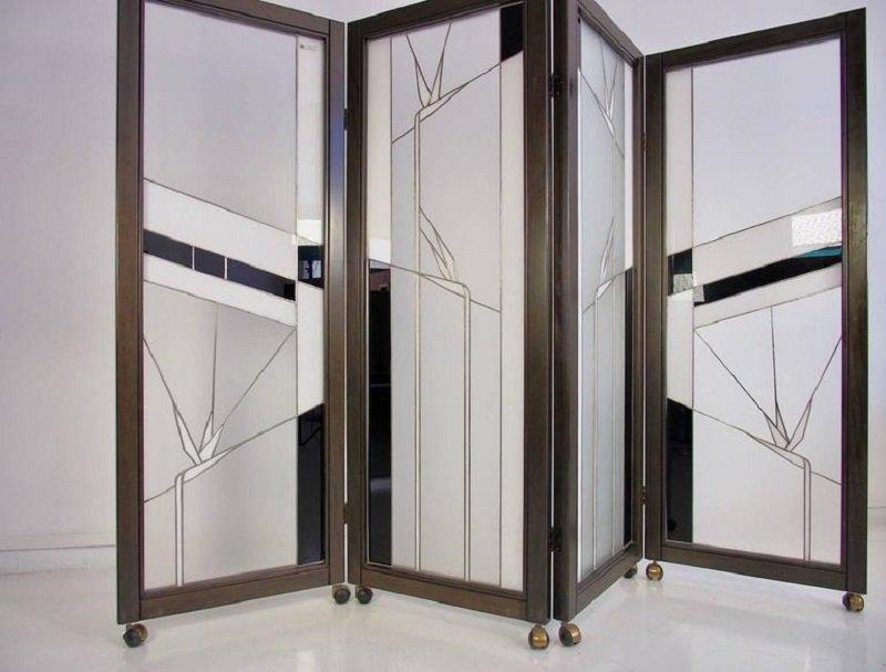 vintage raumteiler aus holz und bleiglas von poliarte bei pamono kaufen. Black Bedroom Furniture Sets. Home Design Ideas