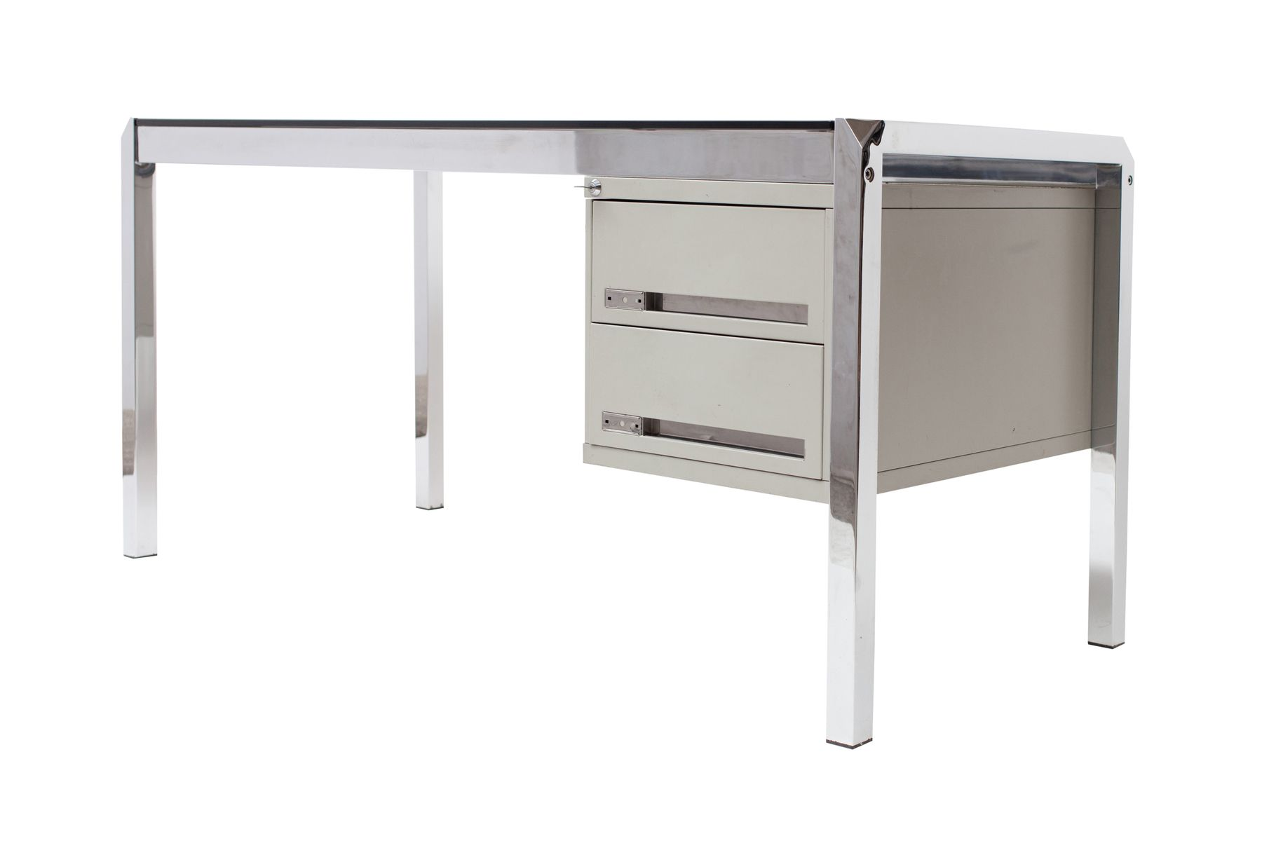schreibtisch aus glas chrom von mario sabot 1970er bei pamono kaufen. Black Bedroom Furniture Sets. Home Design Ideas