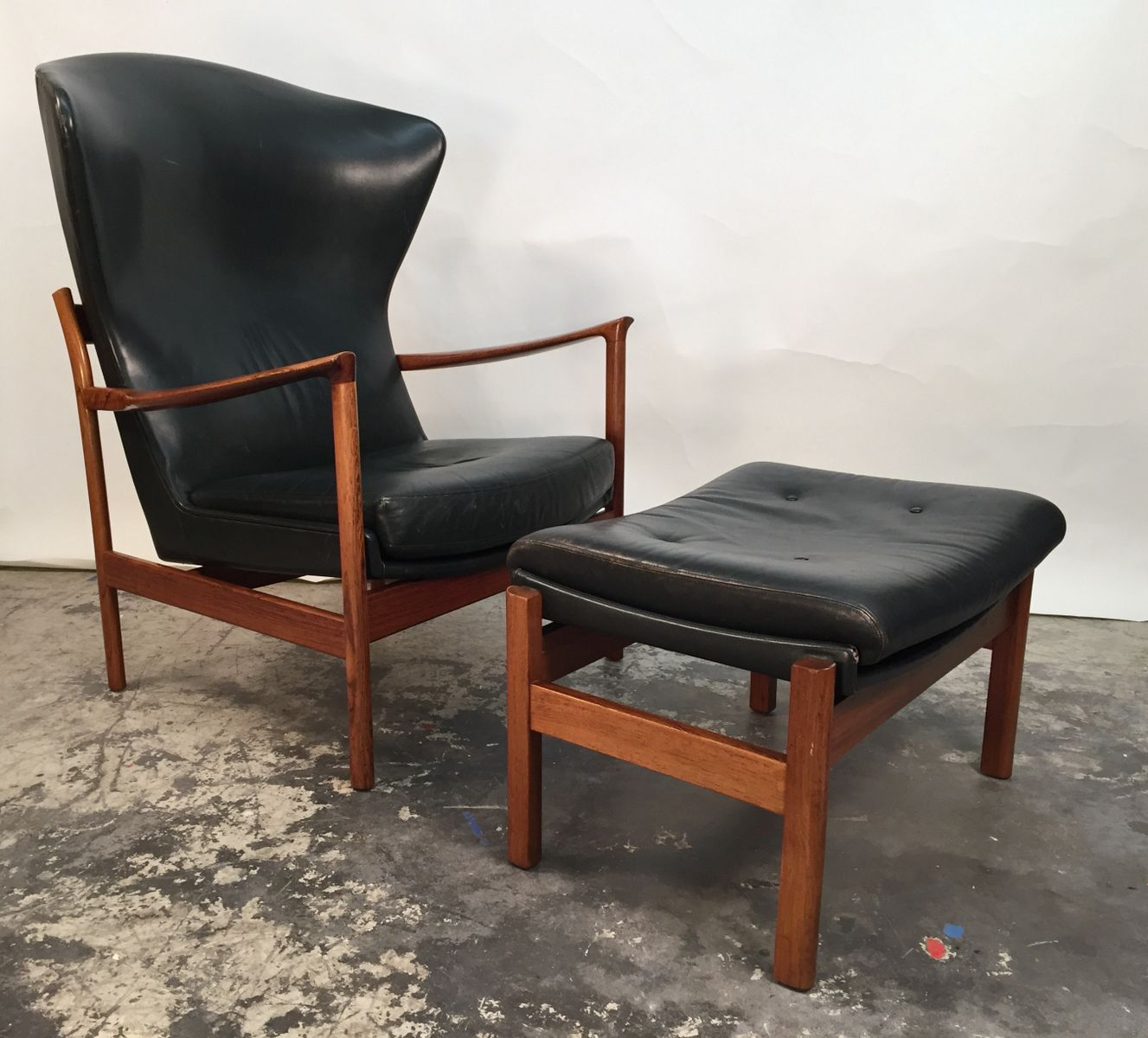 Swedish Lounge Chair With Ottoman, 1960s