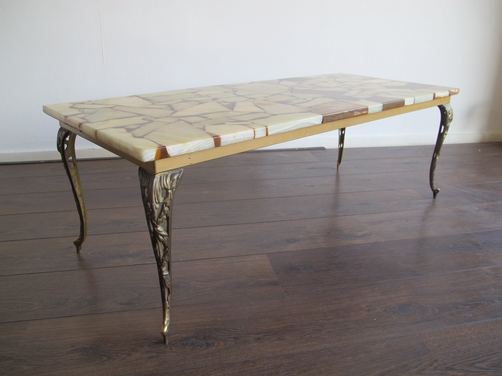 Mid Century Brass Marble & Resin Coffee Table for sale at Pamono