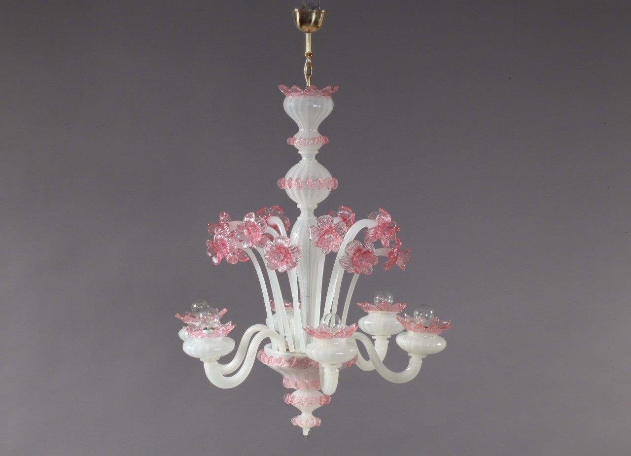 Pink and white blown glass chandelier from murano 1940s for sale at pink and white blown glass chandelier from murano 1940s aloadofball Images