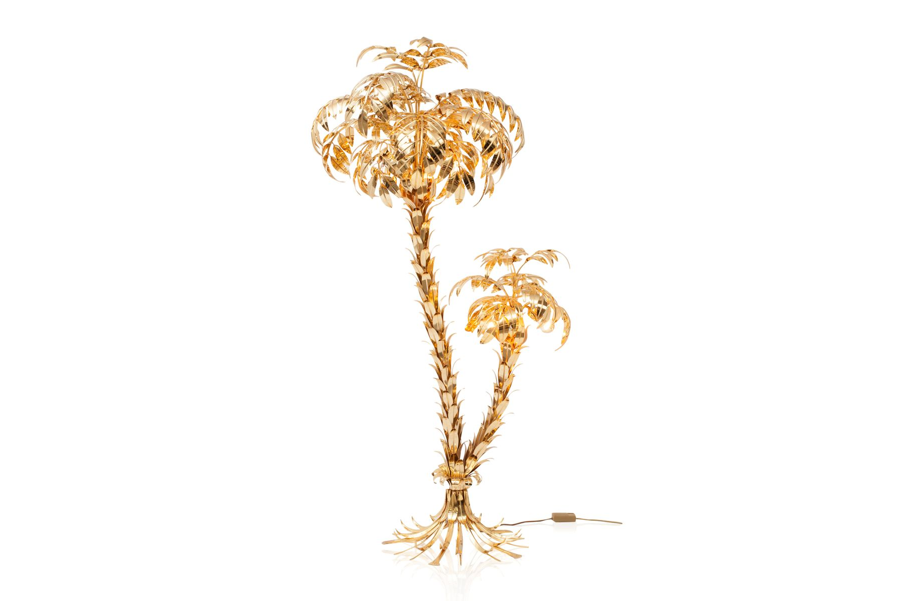 Vintage Brass Palmtree Floor Lamp by Hans Kögl, 1970s for sale at Pamono
