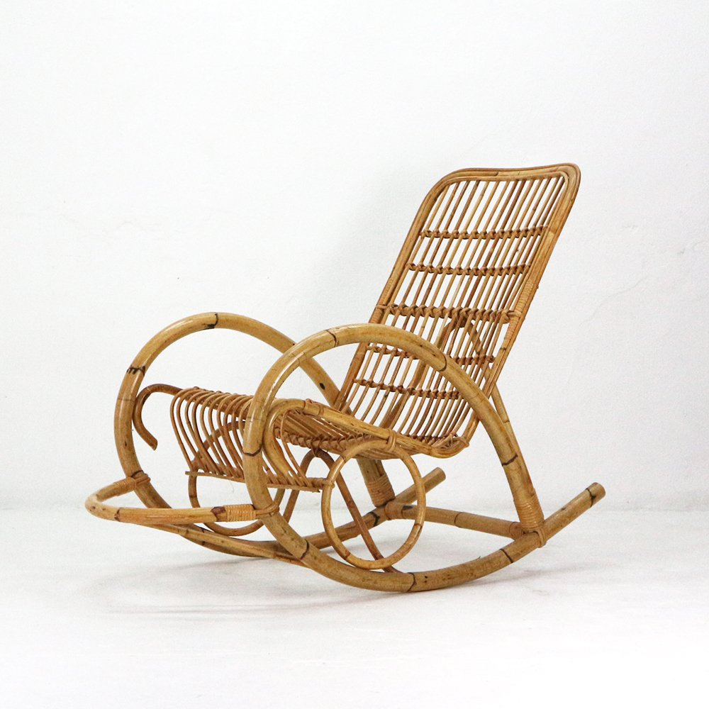 rattan rocking chair 1960s for sale at pamono. Black Bedroom Furniture Sets. Home Design Ideas