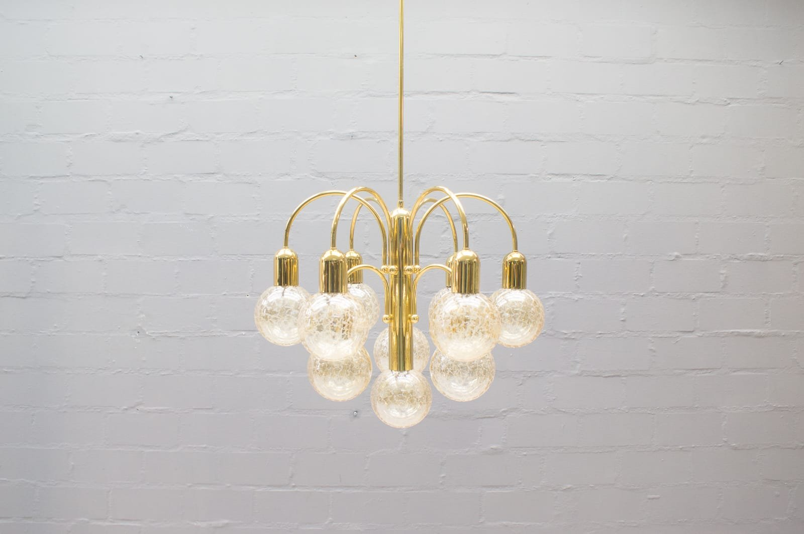 h ngelampe mit zehn strukturglas leuchten 1960s bei. Black Bedroom Furniture Sets. Home Design Ideas