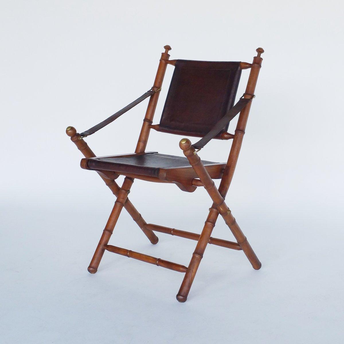 Chaise pliable vintage en cuir et teck en vente sur pamono for Chaise pliable design