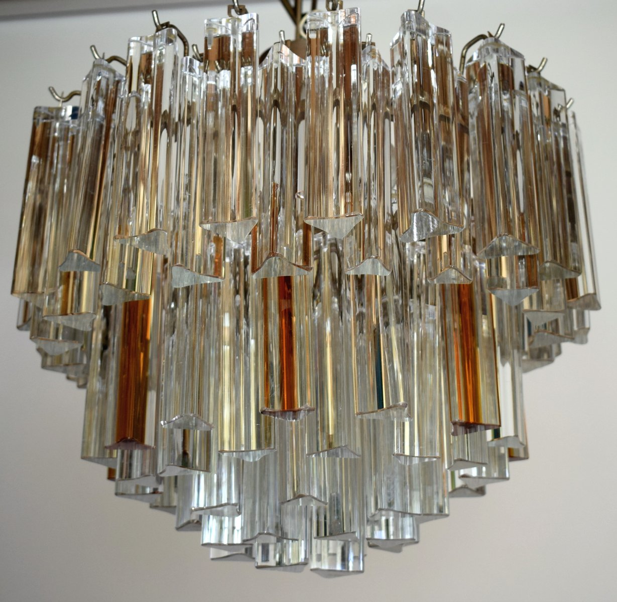 Mid century modern chandelier with clear and amber glass for sale at mid century modern chandelier with clear and amber glass mozeypictures