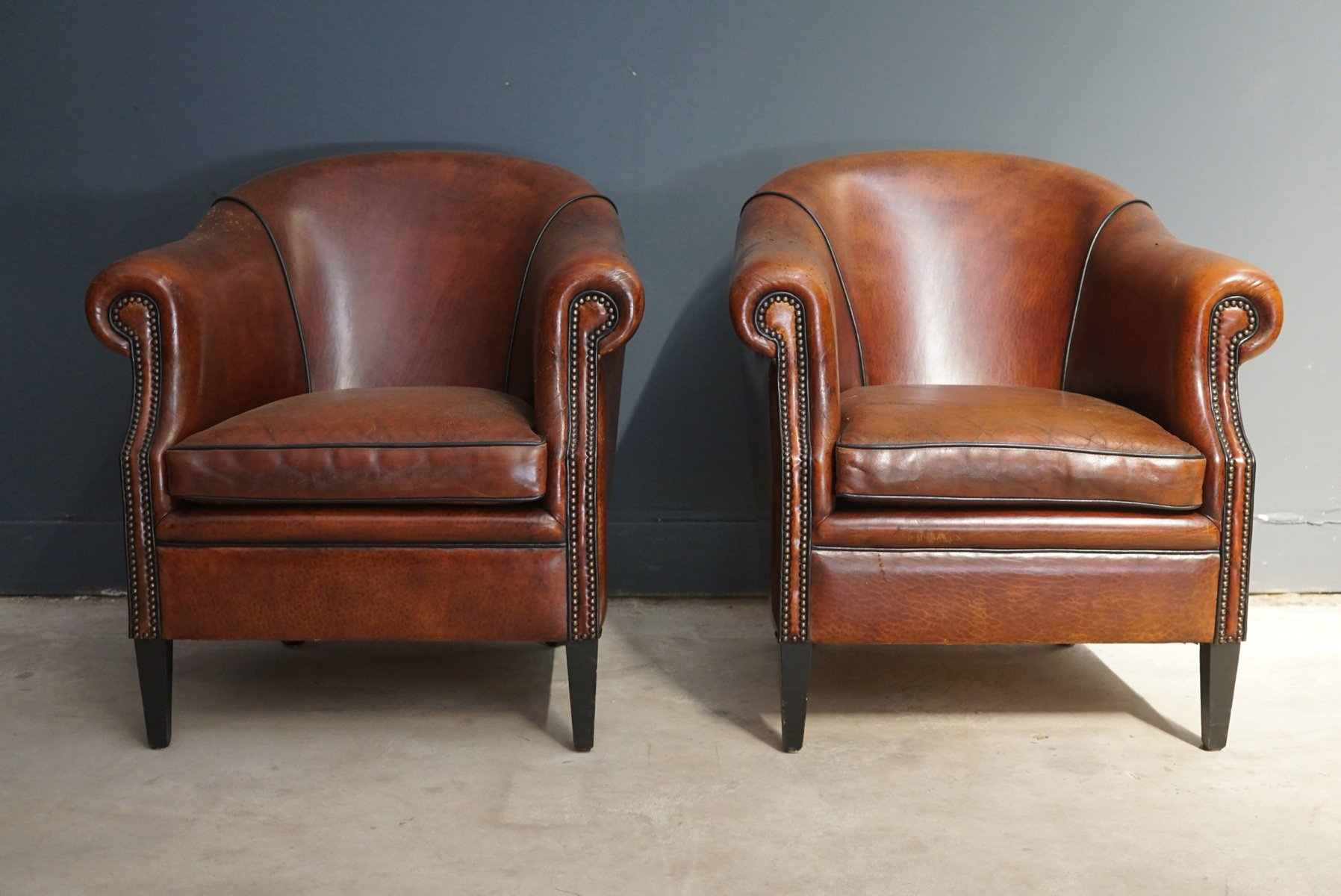 Vintage cognac leather club chairs set of 2 for sale at for Leather kitchen chairs for sale