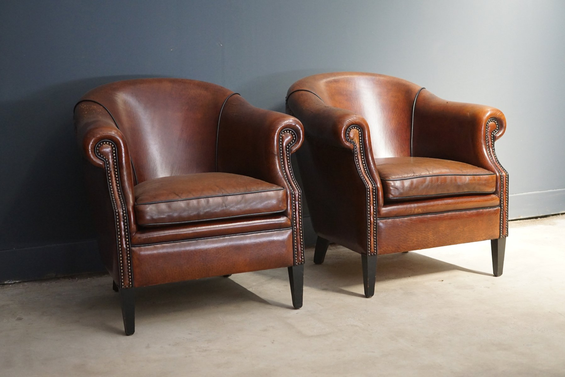 Vintage Cognac Leather Club Chairs Set Of 2 For Sale At