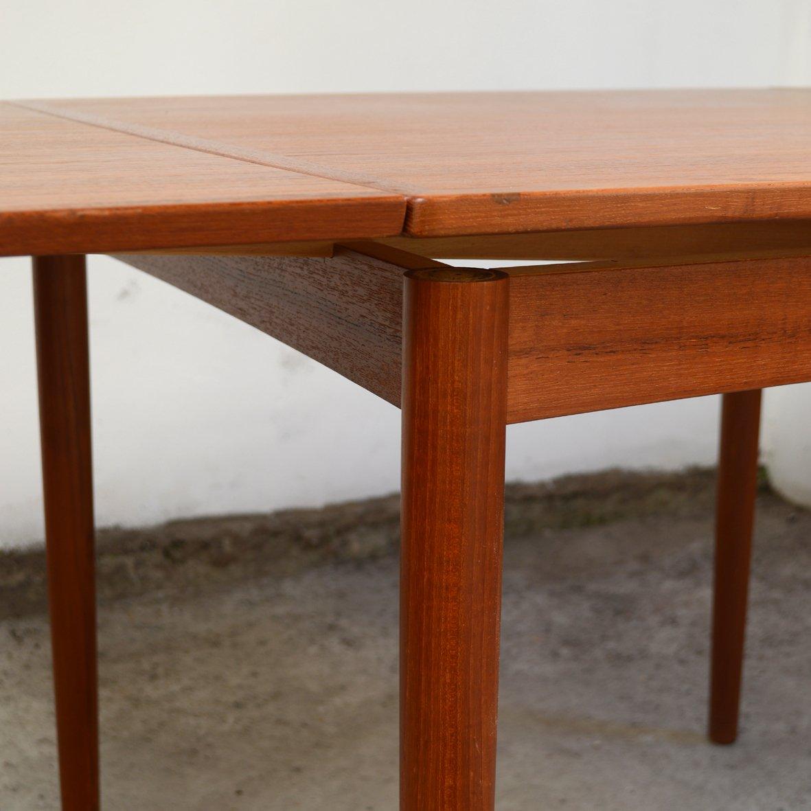 table de salle manger mid century carr e en teck par poul hundevad pour hundevad co en vente. Black Bedroom Furniture Sets. Home Design Ideas