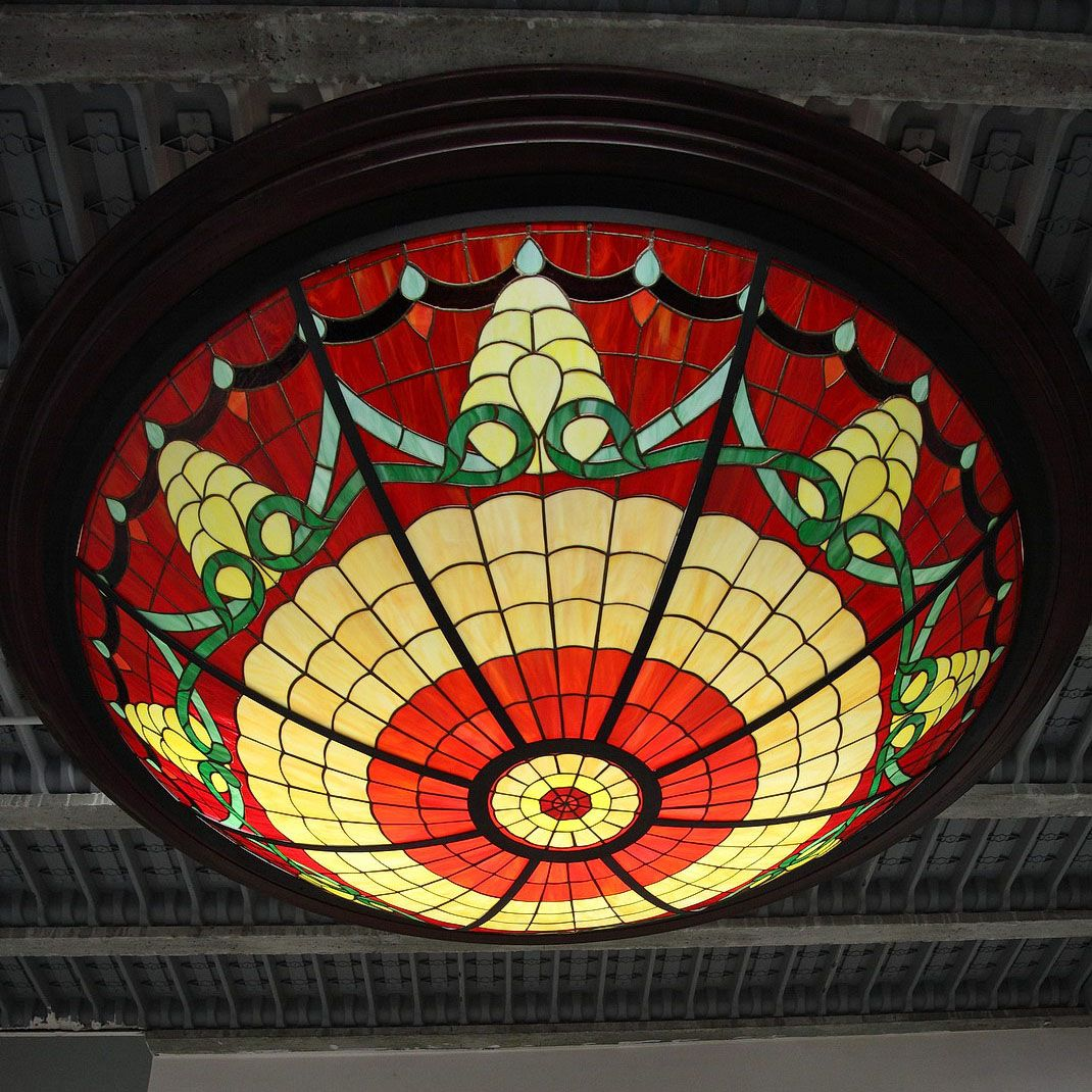 Large stained glass ceiling light 1980s for sale at pamono mozeypictures Choice Image