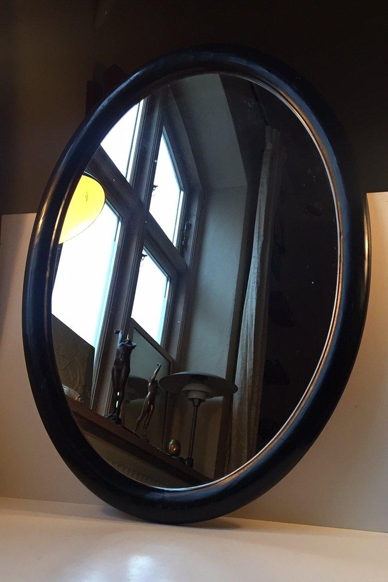 Miroir mural oval noir en bois danemark 1940s en vente for Miroir bois noir