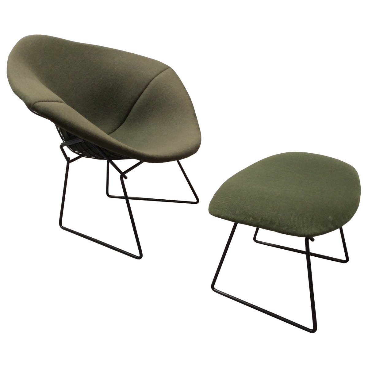 Vintage Diamond Chair and Ottoman by Harry Bertoia for Knoll ...