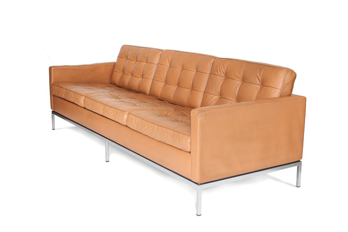 Mid century 3 seater leather sofa by florence knoll bassett for knoll international for sale at - Florence knoll sofa gebraucht ...