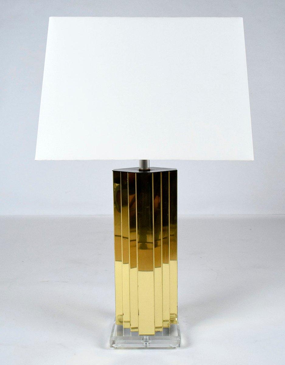 Lampada da tavolo moderna in ottone e lucite in vendita su Pamono