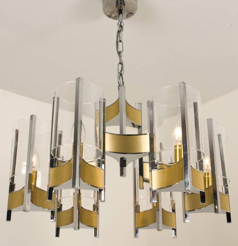 kronleuchter aus chrom glas mit 9 leuchten von gaetano sciolari 1960er bei pamono kaufen. Black Bedroom Furniture Sets. Home Design Ideas