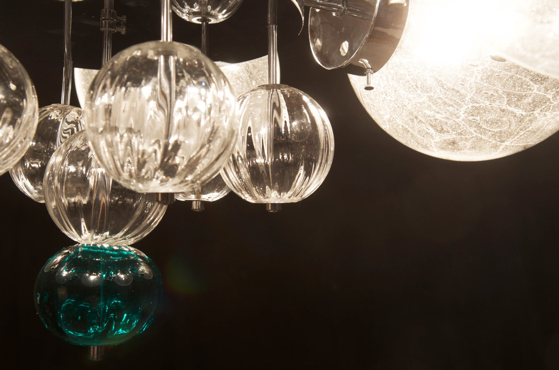 Chandelier with Handblown Glass Globes from Kamenicky Senov