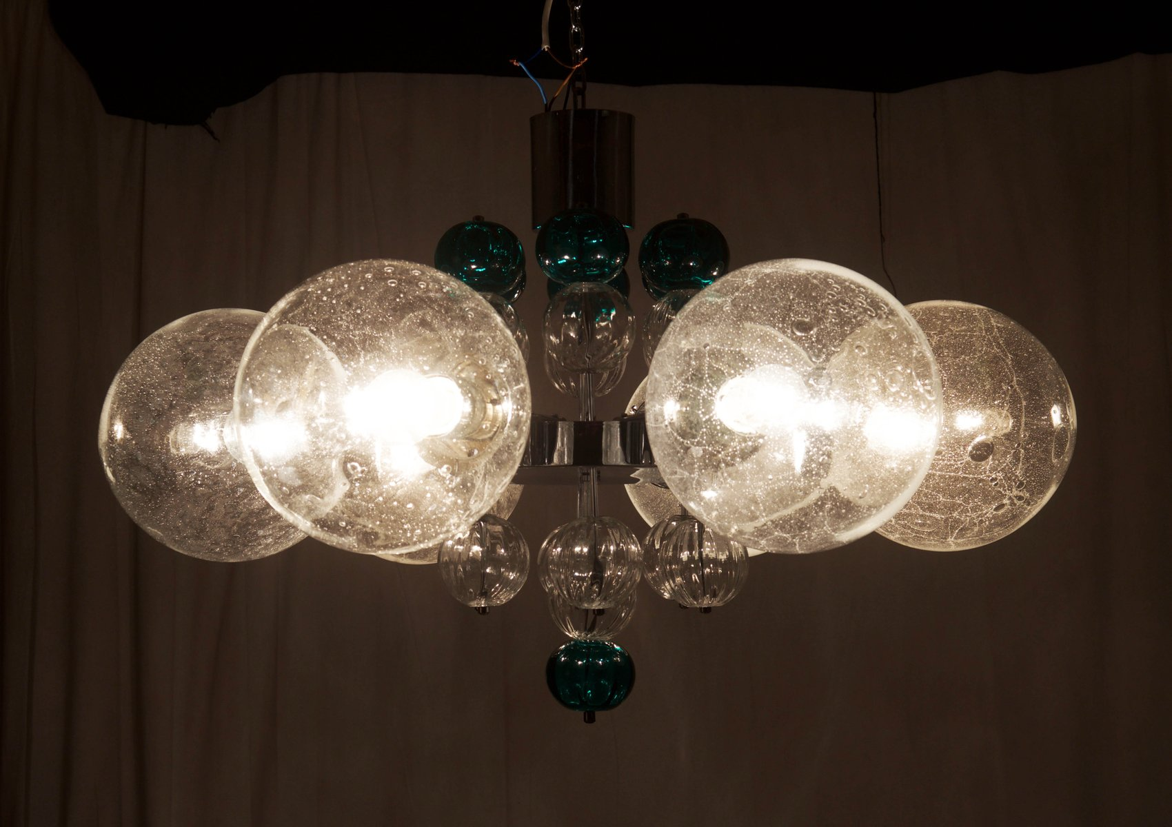 Chandelier with Handblown Glass Globes from Kamenicky Senov
