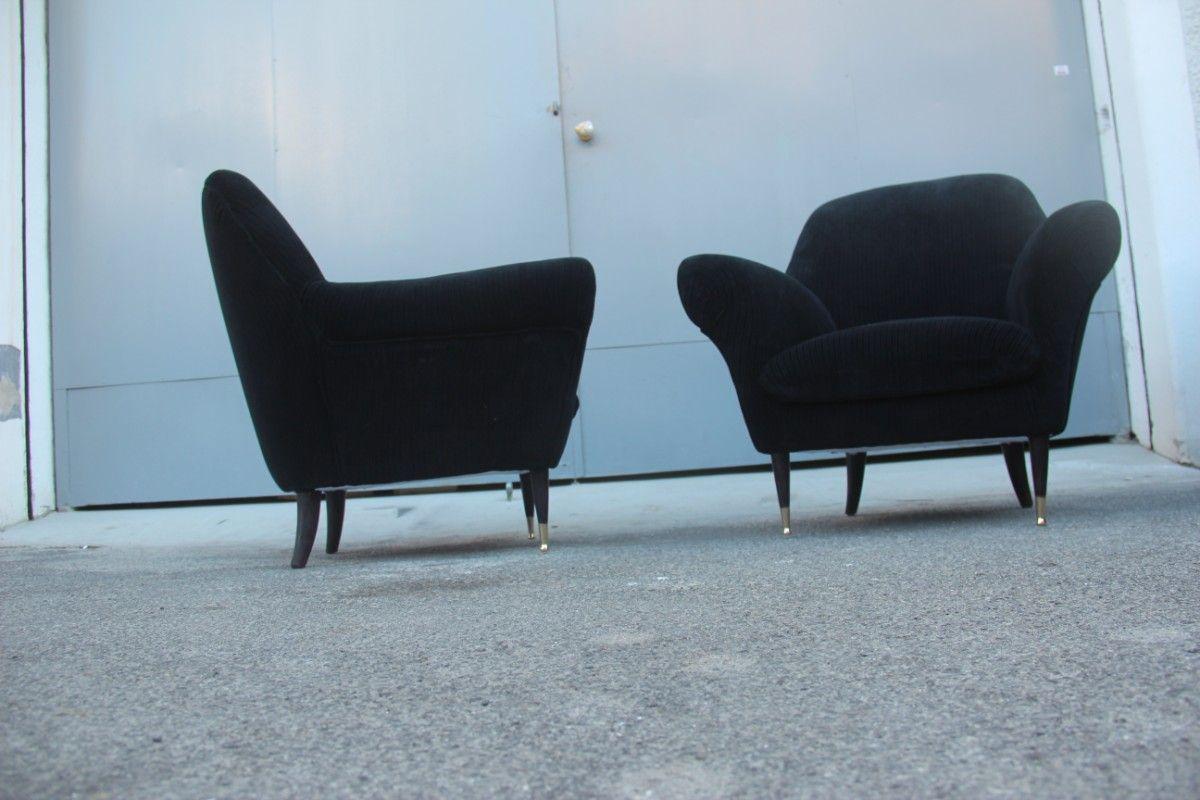 Italienische sessel mit bezug aus schwarzem samt 1950er for Italienische sessel design