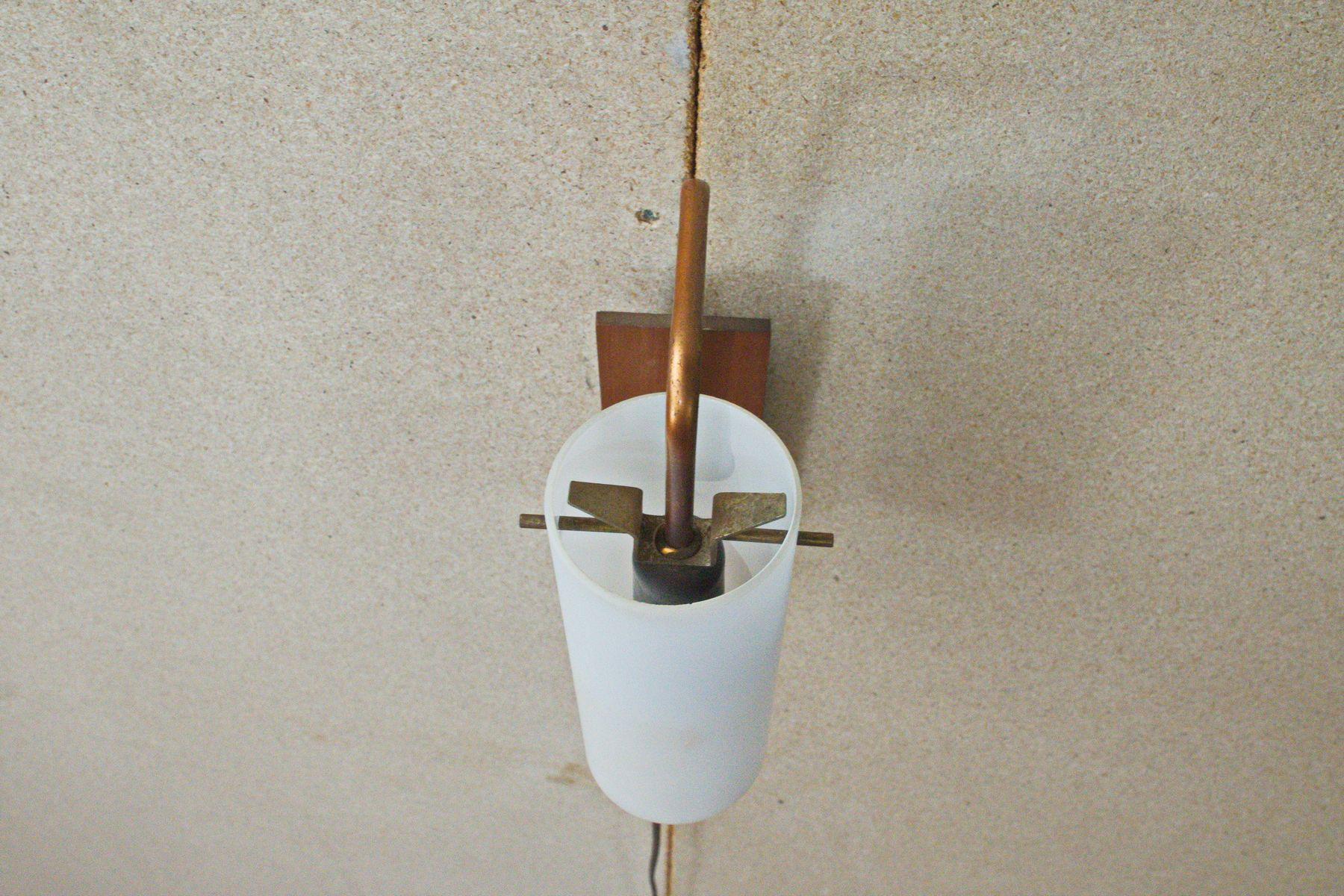 wandlampe aus teak furnier kupfer von anonyme manufaktur 1960er bei pamono kaufen. Black Bedroom Furniture Sets. Home Design Ideas