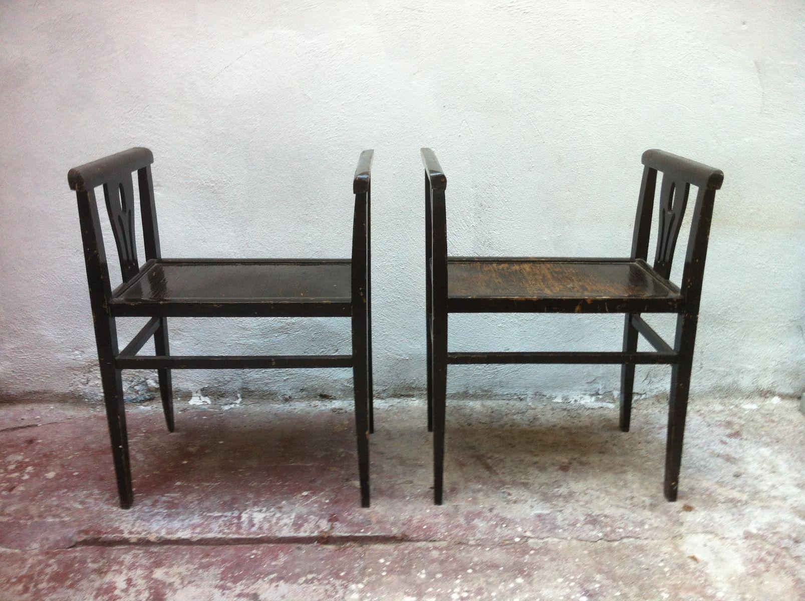 spanische ebonisierte hocker aus holz 1920er 2er set bei. Black Bedroom Furniture Sets. Home Design Ideas