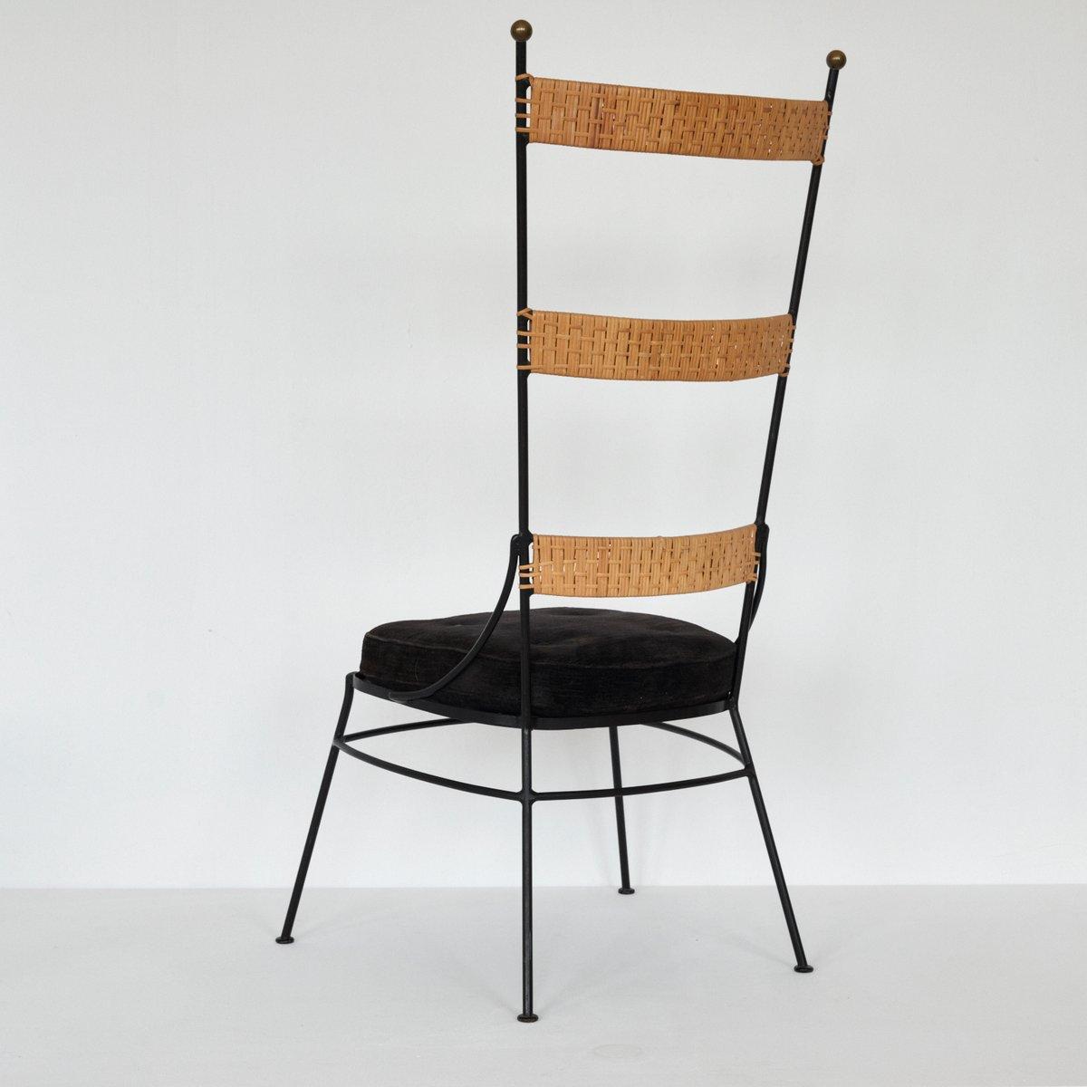 Stuhl aus metall rattan 1950er bei pamono kaufen for Design stuhl metall
