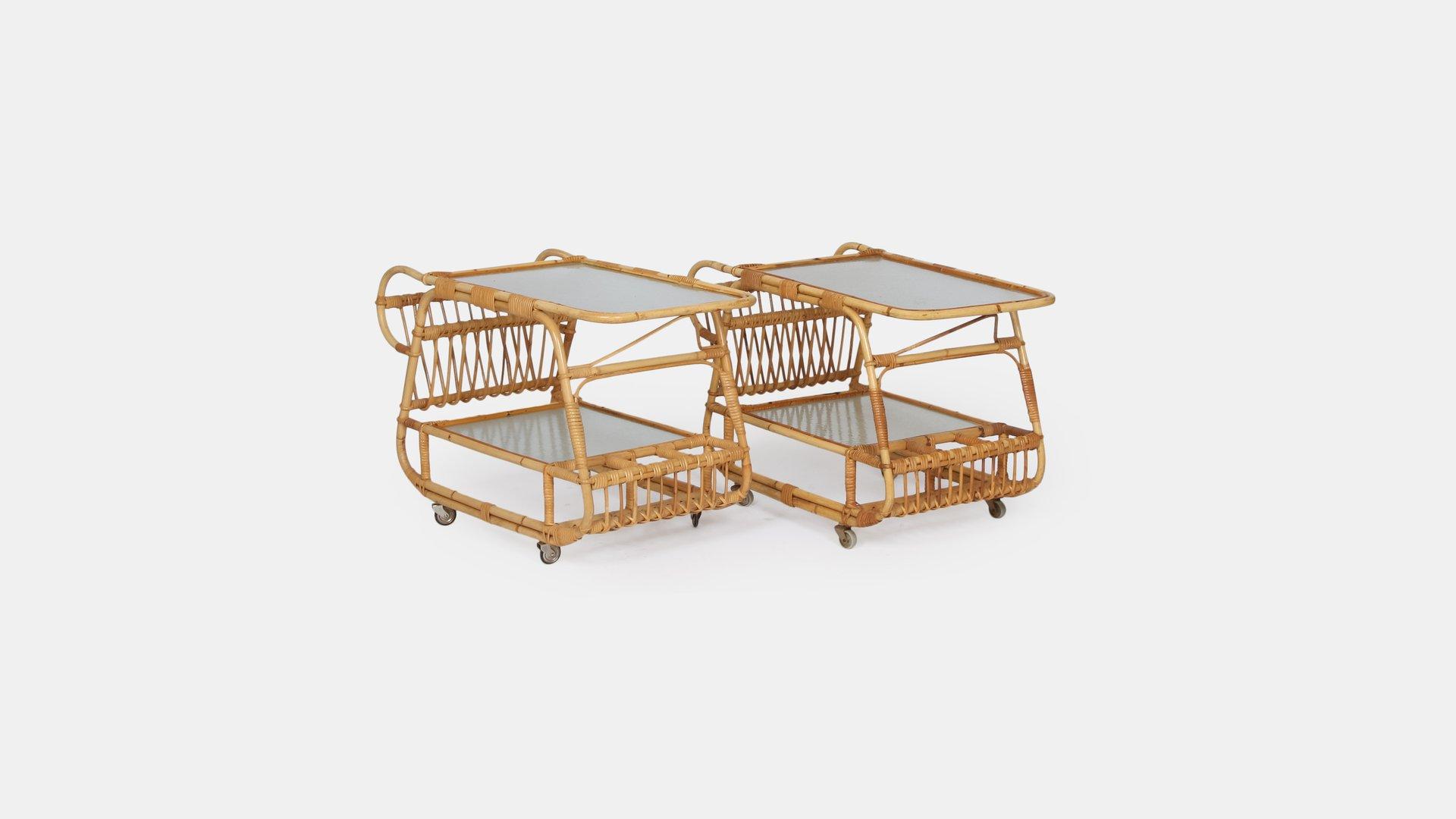 vintage bambus servierwagen bei pamono kaufen. Black Bedroom Furniture Sets. Home Design Ideas