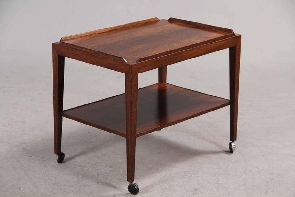 palisander beistelltisch auf rollen von haslev 1960er bei. Black Bedroom Furniture Sets. Home Design Ideas