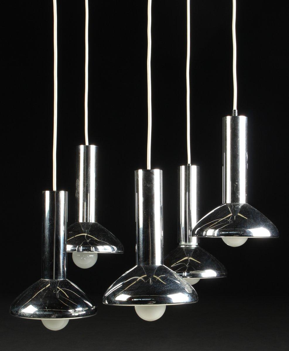 deutsche mid century h ngelampe mit f nf leuchten aus chrom von hustadt leuchten 1970er bei. Black Bedroom Furniture Sets. Home Design Ideas