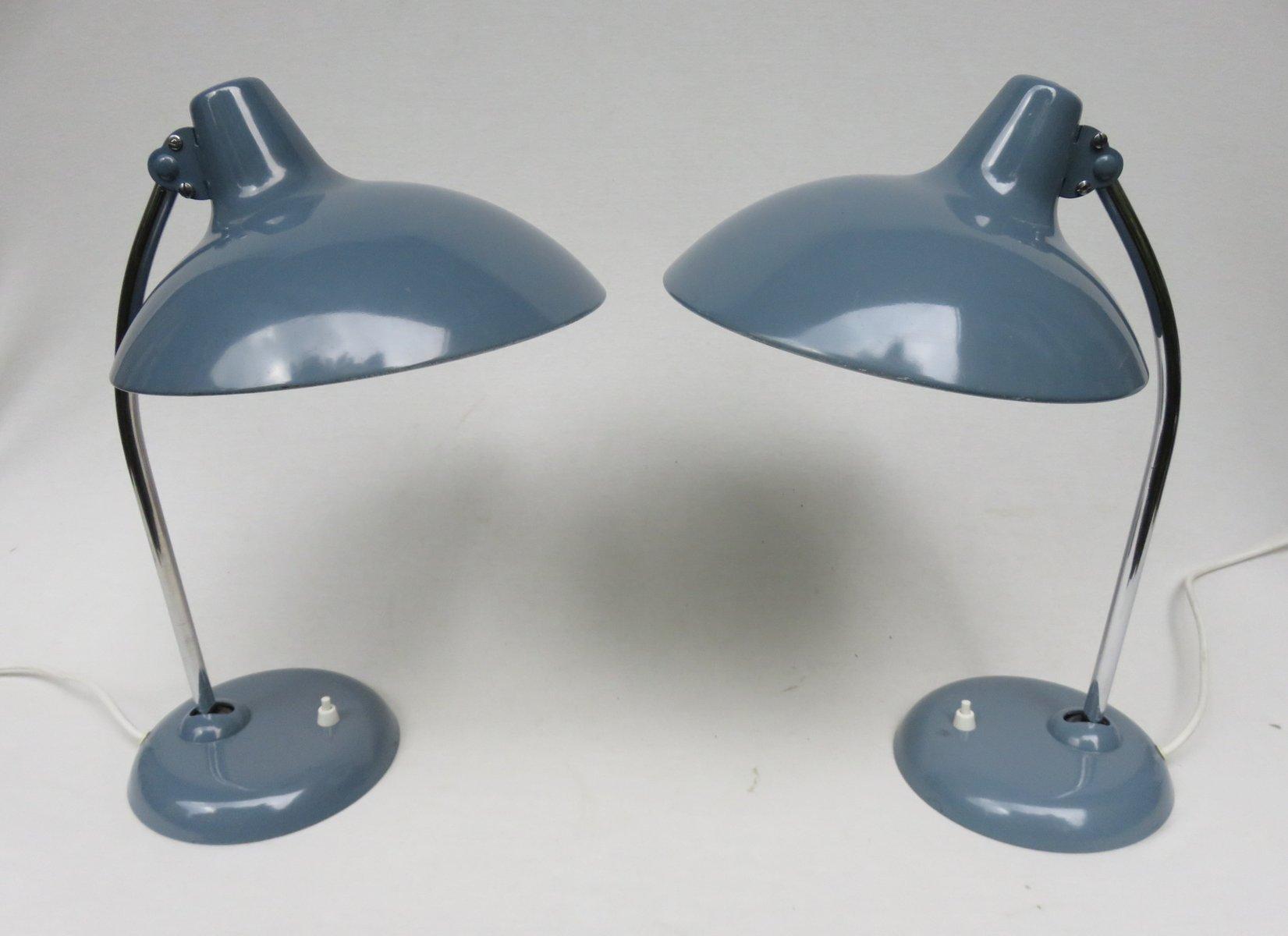 chrom tischlampen in taubenblau von kaiser leuchten. Black Bedroom Furniture Sets. Home Design Ideas