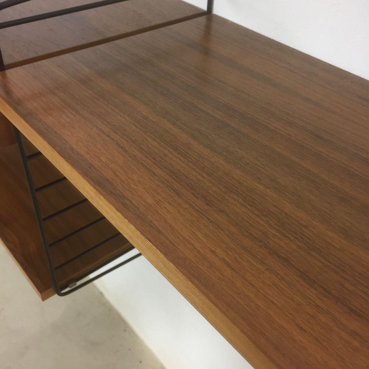 schwedisches walnuss wandregal von nisse strinning f r string 1960er bei pamono kaufen. Black Bedroom Furniture Sets. Home Design Ideas