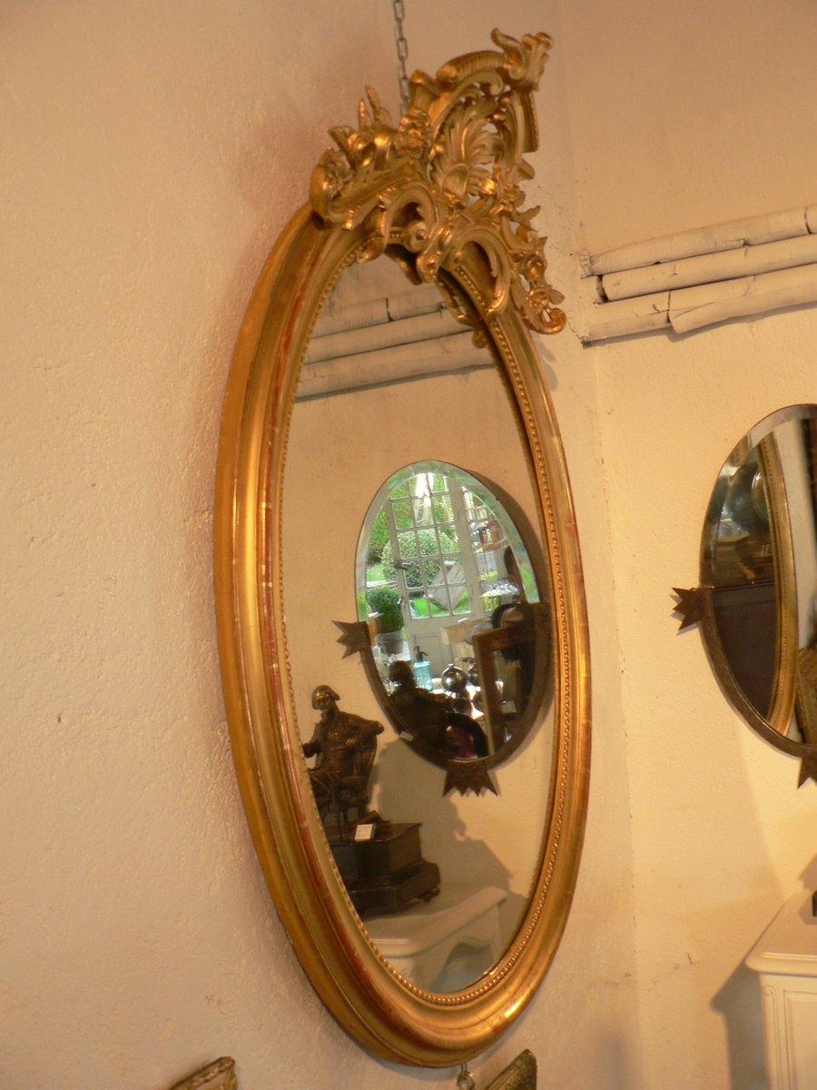 grand miroir mural antique rococo ovale en vente sur pamono