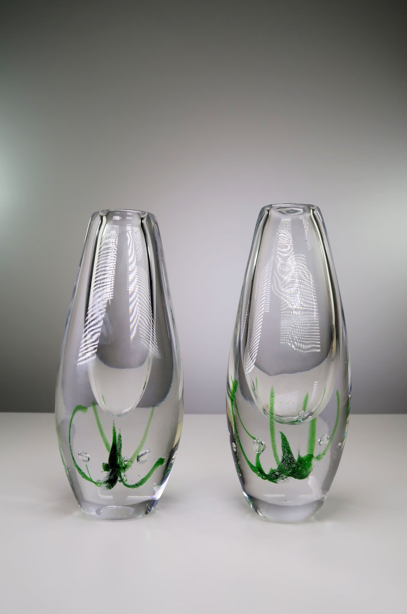 Mid century seagrass art glass vases by vicke lindstrand for kosta mid century seagrass art glass vases by vicke lindstrand for kosta 1963 set of 2 for sale at pamono reviewsmspy
